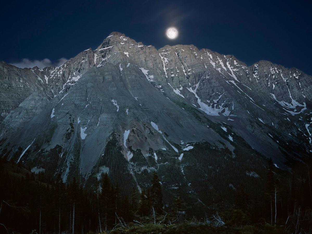 Pyramid Peak, Moonrise, Maroon Creek, CO Carmichael Productions, Inc. Landscape
